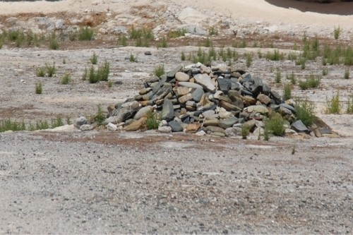 Pile of rocks in the limestone quarry