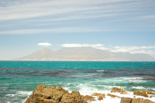 View of Cape Town and Table Mountain from Robben Island