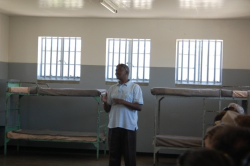 Our tour guide inside the prison, a former inmate