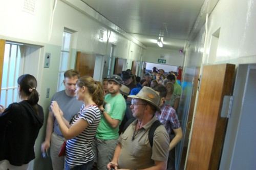 The crowd gathered to see Nelson Mandela's cell