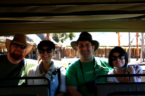 Joel, Geraldine, Phil, and Meredith on the safari bus