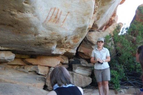 Our guide, Simone, tells us about the rock art