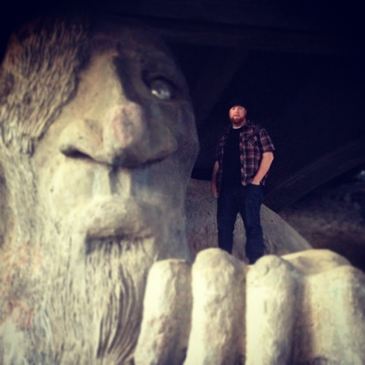 Joel on troll (the Fremont Troll)
